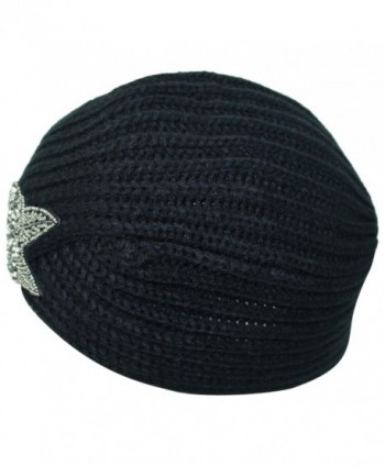 Winter Turban Beanie Beaded Flower in Women's Skullies & Beanies