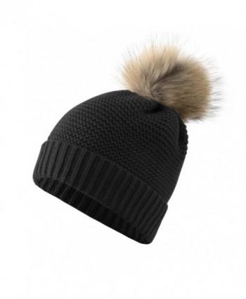 Women's Winter Thick Knit Fur Pom Pom Beanie Hats - Black - CT186G3U7Z4
