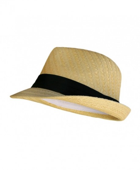 Fedora Hat - Natural Color Straw with Black Band- Natural- One Size - C9115VN8ZVT
