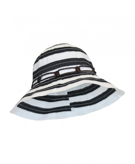 4a62a22d Boho Ribbon Crusher Round Crown Bucket Sun Hat SPF UPF 50 UV Protection  Packable - Black ...