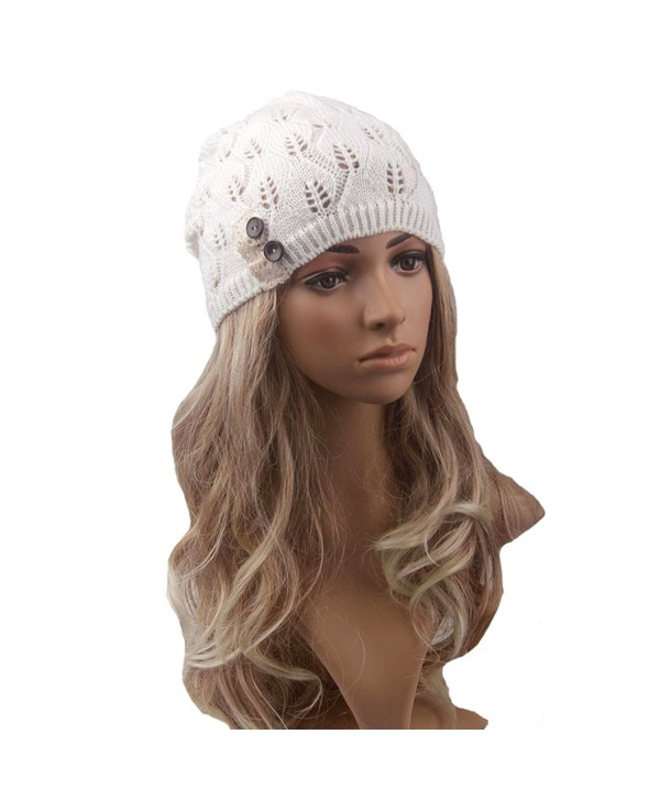 Tinksky Women Winter Warm Knit Hat Snow Ski Caps Lace Button Leaves Hollow Out Knitting Hat (White) - C212MXTTXZ5