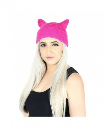 Elliott and Oliver Co. Girl Power Kitty Cat Ears Beanie Knit Hat Warm Knitted Winter Cap With Cuff - Hot Pink - C0186H9IX52