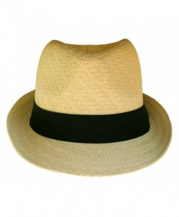 Fedora Hat Natural Color Straw in Men's Fedoras