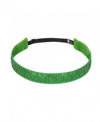 Bani Bands Women's Sequin Adjustable Headband with Non-Slip Lining - Green Sparkle - CR11EAPAFJH