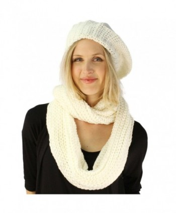 Ladies 2pc Winter Knit Beret Tam Beaniel Hat Long Infinity Scarf Solid Set - Ivory - CO11P5F0ORV