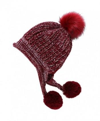 Artone Christmas Knitted Stripe Beanie Hat Scarf Fleece Gloves Winter - Red Pompom - CF187K64LLR