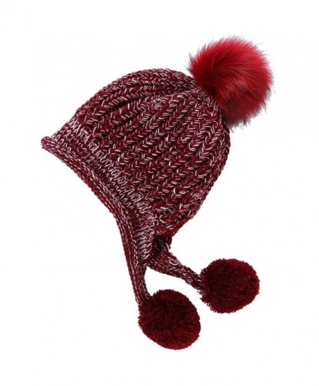 Artone Christmas Knitted Stripe Beanie Hat Scarf Fleece Gloves Winter - Red  Pompom - CF187K64LLR b351977a6be