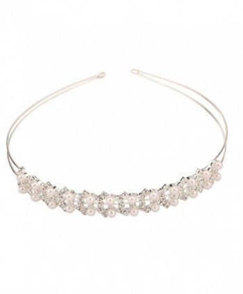 Delicate Wedding Princess Pearl Crystal Rhinestone Tiara Crowns Headband - CT11O0YFUTF