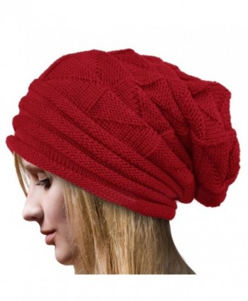 Dealzip Inc Stylish Unisex Brown Woven Knit Crochet Plicated Baggy Slouch Warm Winter Hat Cap Beret Beanie - Red - CJ12IC0J9DZ