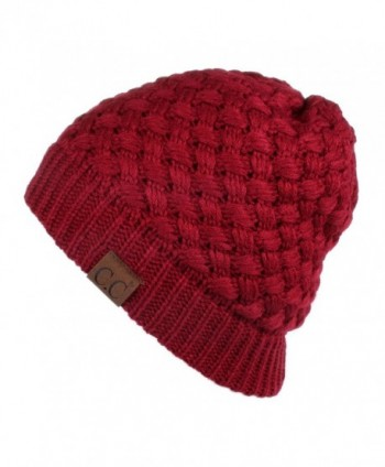 Hatsandscarf CC Knit Warm Inner Lined Soft Stretch Skully Beanie Hat(HAT-47) - Burgundy - C1189NA6M2A