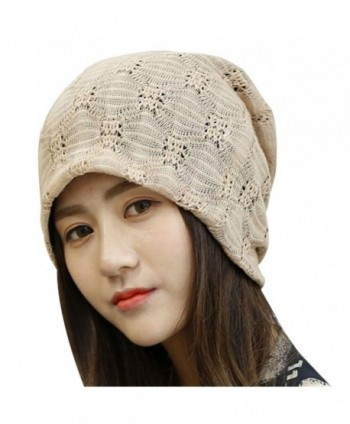 Kafeimali Womens Slouch Large Big Beanie Baggy Hat Knit Warm Winte Soft Cap - Khaki - C21868MLCOM