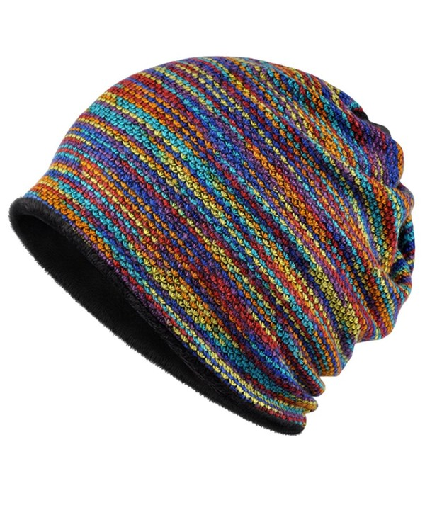 KUYOU Women's Multifunction Plus Cashmere Hat Skull Cap Scarf (Rainbow) - C818800528H