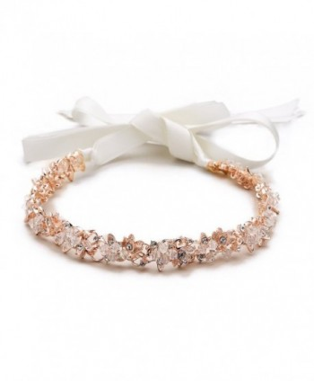 Mariell Blush Rose Gold Crystal Cluster Bridal Wedding Headband Hair Vine with Ribbon - CP12O46Z6WA
