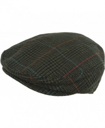 Plaid Wool Blend Ivy Scally Cap Houndstooth Driver Hat Newsboy Flat - Green - CR1297M7TVL