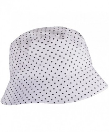 WDSKY Outdoor Women's Rain Hats Rain Hats For Ladies Bucket Hat Womens brimmed Hat - Dots White - CG185U0LUYY