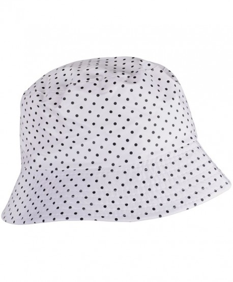 WDSKY Outdoor Women's Rain Hats Rain Hats For Ladies Bucket Hat Womens brimmed Hat - Dots White - CG185U0LUYY