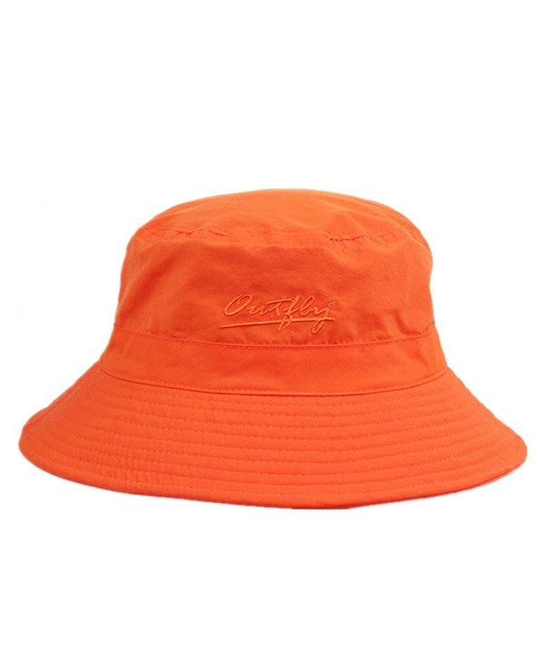 Home Prefer Unisex Mens Womens Daily Summer Hat Plain Sun Protection Bucket Hat - Orange - CD12CSI0H9H