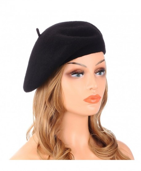 Wheebo Wool Beret Hat-Solid Color French Style Winter Warm Cap For Women  Girls - 87bf9a6cc2f0