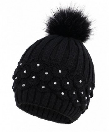 Arctic Paw Cable Knit Beanie with Sequins and Faux Fur Pompom - Black - CI185LZO3Y3