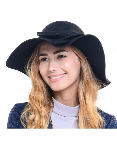 5017ec46375 Wimdream Women 100% Wool Wide Brim Cloche Fedora Floppy hat Cap Z0012 -  Black -