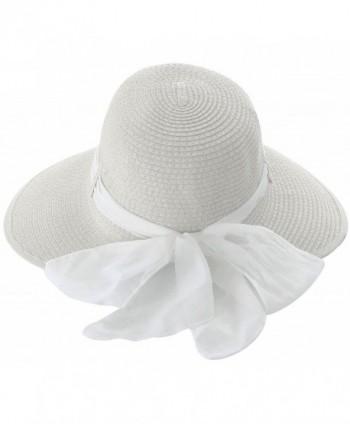 TAUT Women Summer Beach Straw Hat Sun Cap w/ Chiffon Band - White Color With White Ribbon - CC12CW7FOGP