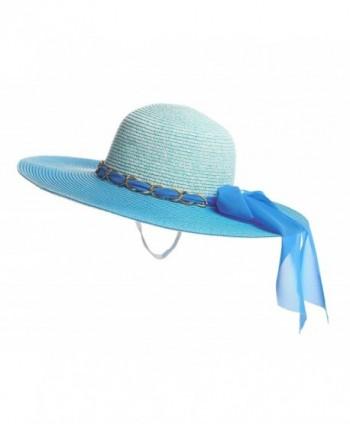 Kaisifei Straw Derby Cap Womens Flax Sun Hat - Blue - C512DOG3YQP