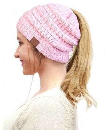 FADA BeanieTail Soft Stretch Cable Knit Messy High Bun Ponytail Winter Women Beanie Hat - A-baby Pink - CO188K4X2ZZ