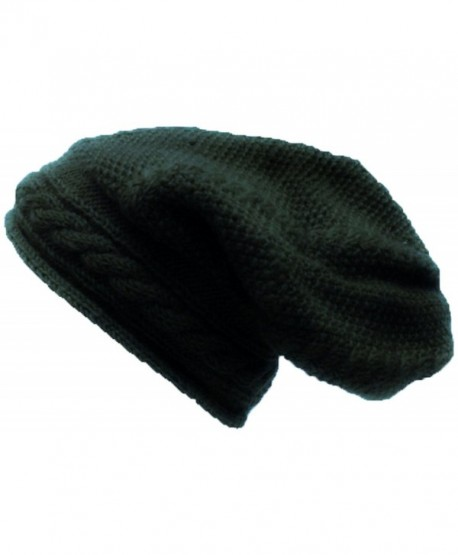 1502 H Cable knit Unisex wool knit Slouchy Baggy Winter Skull Hat Cap - Dark Green - CF189COC8U8