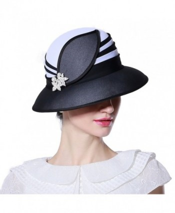 Koola's Women's Sunhats Lady Chiffon Church Summer Hats Vacation Beach Kentucky Hats Derby Hats - black - CP12O66IF48