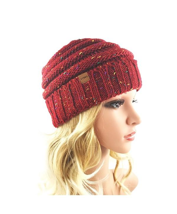 Women's Warm Chunky Thick Stretchy Knit Beanie Skull Cap Winter Knitting Warm Hat - Wine - CK1864DA6C9