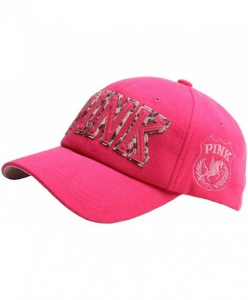 Raon B52 Women Girl Color Cute Style Cotton Leopard Pink Mark Ball Cap Baseball Hat Truckers - HotPink - CB129AN2WW7
