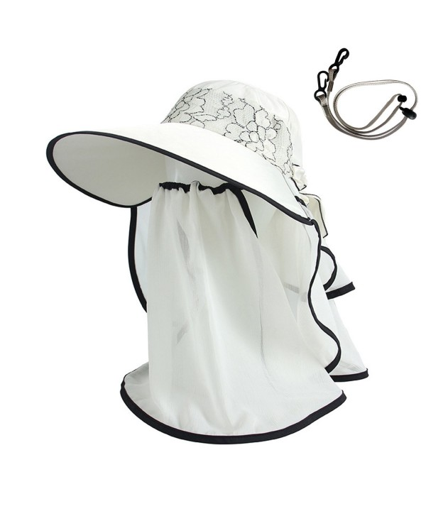 AOU Womens Sun Hat With Veil Mask Visor Cap Summer Beach Hat With Neck Cover Cord - Beige - C7185H4LESZ