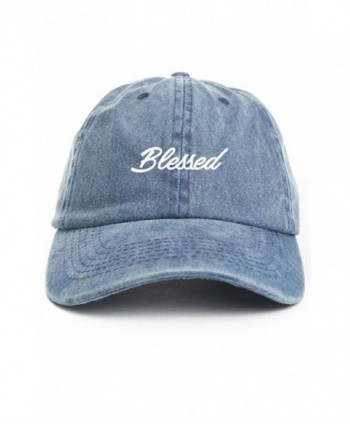 Blessed Cursive Baseball Dad Hat Cap - Denim - CI12O0EYY71