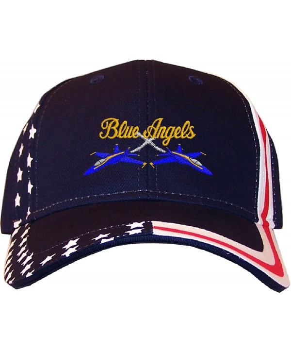 Spiffy Custom Gifts Blue Angels Embroidered Stars & Stripes Baseball Cap Navy - CE12EDNLWHL