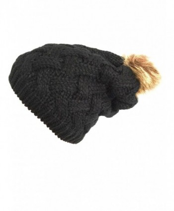 ee97a50611d NY GOLDEN FASHION Women Chunky Cable Knit Oversized Slouchy Baggy Winter  Thick Beanie Hat Pom Pom ...