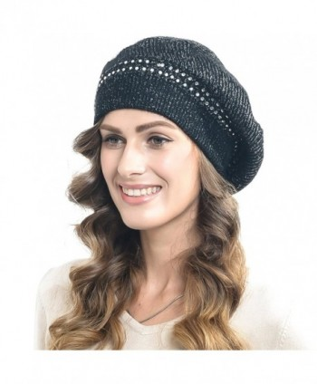 Women's Casual Rabbit Beret with Rhinestone Oversize - Black - CC126WGLCIL