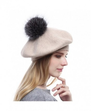 7edc37bfba5fc Winter Berets For Womens Wool Beanies Knitted Cashmere Hats With Fox ...
