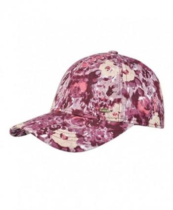 Kenmont Women's 5 Panel Cotton Baseball Cap Outdoor Flower Fitted Hats Running Golf Cap Visors - Wine Color Caps - CA12K5N45WR