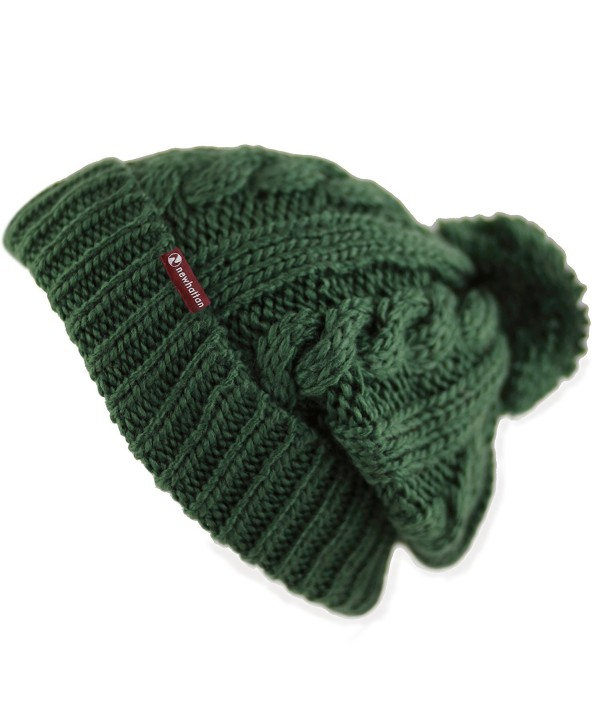 THE HAT DEPOT Winter Unisex Thick and Warm Pom Pom Fleece Lined Skully Knit Beanie Hat - Dark Green W/ Label - CM187AW8GC0