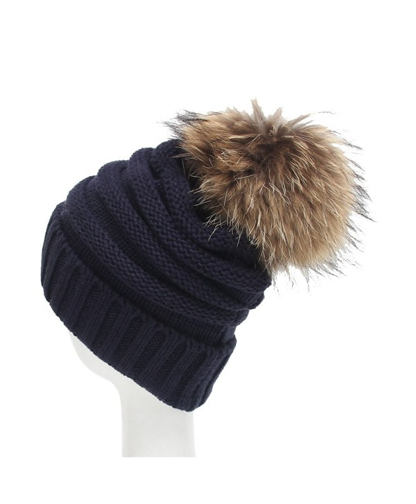 Century Star Women Solid Fall And Winter Soft Cap Knit Cable Beanie Fluffy Fur Pom Pom Hat - Navy - CF186ZS08E9