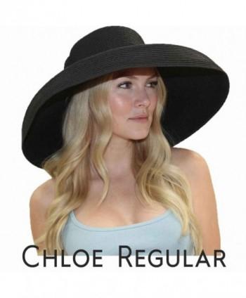 Chloe Wide Brim Derby Hat Women's Dress Sun Hat Fancy Tiffany Style (Regular- Black) - CG11VWWBG2D