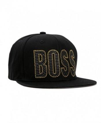 Rhinestone/stud BOSS Hip Hop Cotton/acrylic Snapback Cap - CB11KPSFVA7