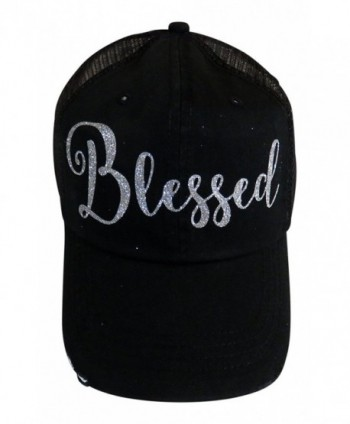 Silver Glitter Blessed Black Snap Back Baseball Cap Faith - CD12NUVNZL5