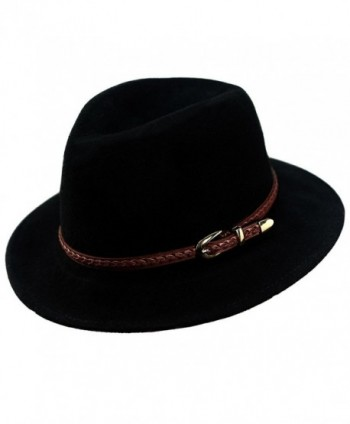 cfc90d410f2 Verashome Wool Fedora Hat Women s Felt Panama Crushable Vintage Style With  Leather Band - Black -