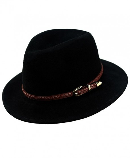 02e02f5399b Verashome Wool Fedora Hat Women s Felt Panama Crushable Vintage Style With  Leather Band - Black -