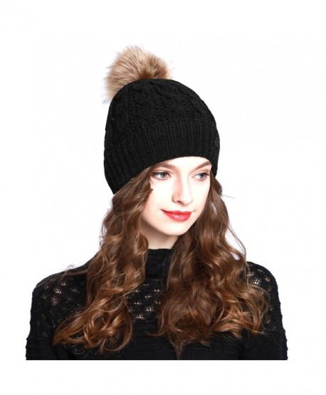 1b67beb01de ANGELA   WILLIAM BN2346 Women s Winter Hand Knit Faux Fur Pompoms Beanie Hat  - Black -