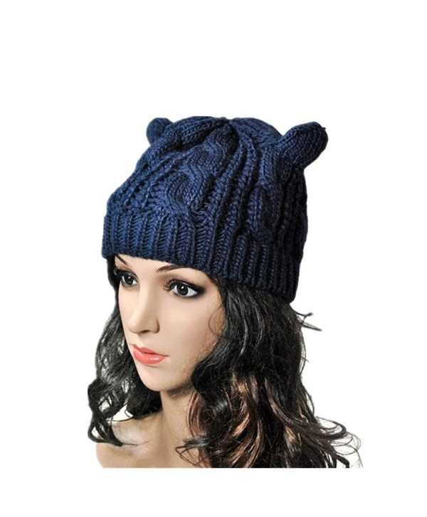 Tuscom Women Winter Beanie Devil Horns Cat Ear Crochet Braided Wool Cap Hat - Blue - C512N37HFWQ
