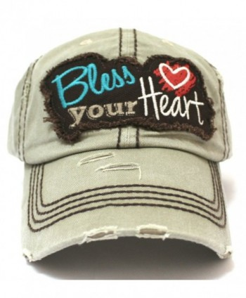 BLESS YOUR HEART Embroidery on KHAKI Distressed- Vintage Cap w/ Back &lt3 Detail - CD17YKHWOUE