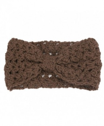 Creazy Women Winter Warmer Hollow Out woolen Yarn Woven Handcraft Hairband - Khaki - C4127NSZKJ9