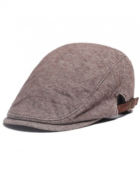 doublebulls hats Flat IVY Cap Men Gentlemens Autumn Winter Plain Jeff Driving Caps multicolored - Brown - CK186YG62S2